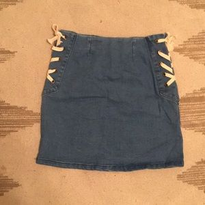Lace up side denim skirt with zipper back